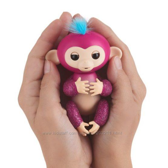 Интерактивная обезьянка Fingerlings Glitter Monkey WowWee малиновая
