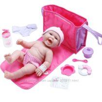 Реалистичный пупс с сумкой для подгузников и аксессуарами LA NEWBORN JC Toy
