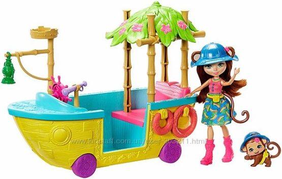 Enchantimals лодка обезьянки Мерит Junglewood Boat & Merit Monkey Doll