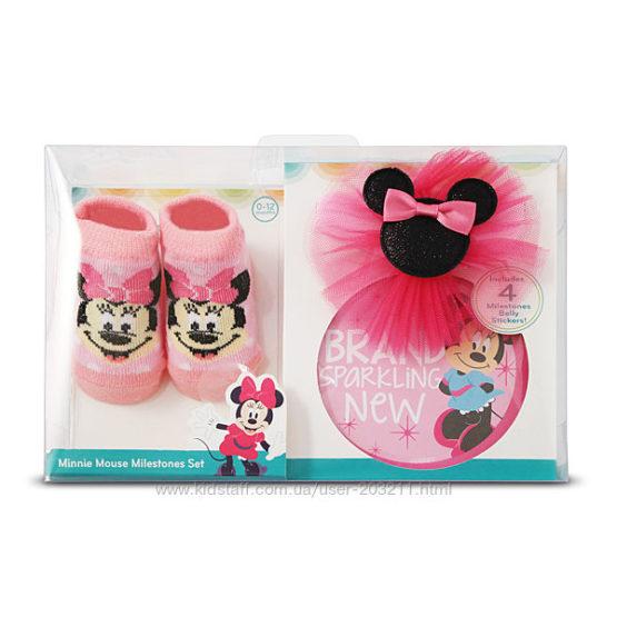 Подарочный набор с наклейками, пинетками, повязкой Disney Minnie Mouse