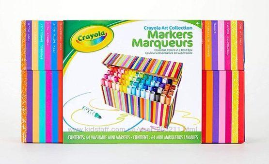 Набор Crayola из 64 шт. смывающихся мини фломастеров.