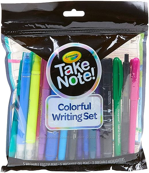 Набор из 19 предметов Crayola Take Note Colorful Writing Set