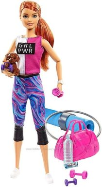 Кукла Барби Фитнес со щенком Barbie Fitness Made to Move Двигайся как я