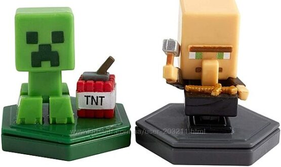 Minecraft Earth Boost Minis Figures, Repairing Villager аnd Mining Creeper